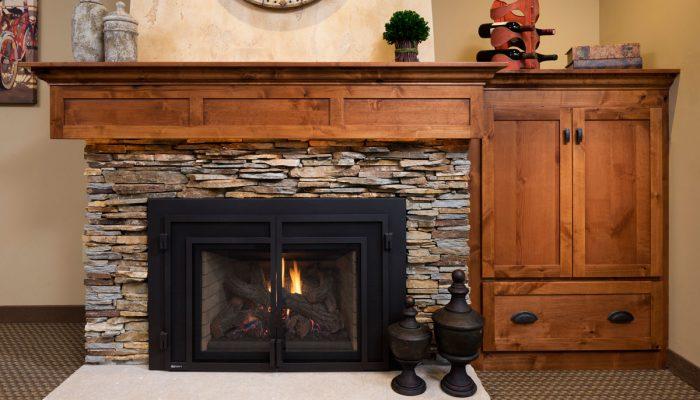 custom stone mantel